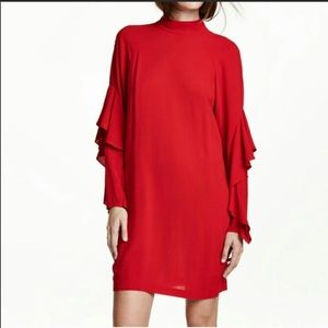 Adorable H & M Red Ruffle Sleeve Dress
